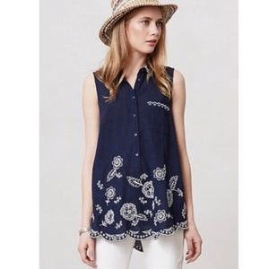 ANTHROPOLOGIE navy embroidered tank top #H20